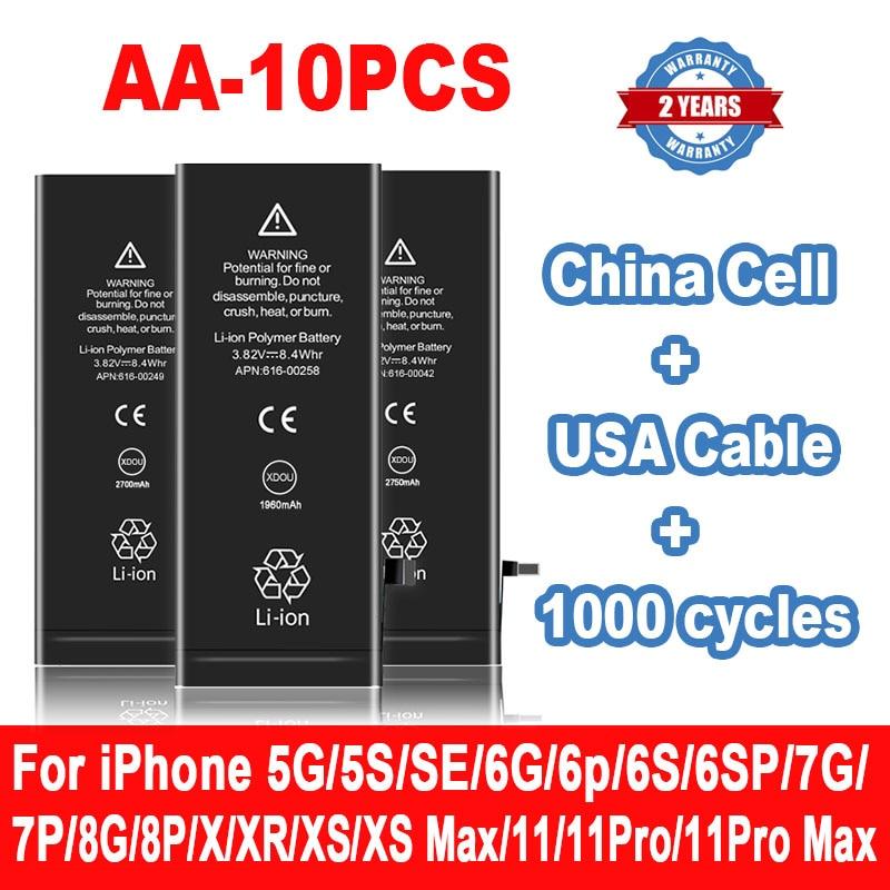 10 قطعة بطارية آيفون 6S 6 7 8 Plus آيفون X SE 2020 SE2 5s 5C 5 XR XS ماكس استبدال Bateria لابل IPhone6S IPhone7 AA