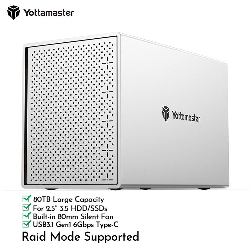 Yottamaster PS500RC3 5 Bay 2.5 3.5 USB3.1 Type-C Gen1Max 80TB Personal Storage External Hard Drive Case SATA 3.0 HDD/SSD housing