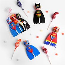 54Pcs Superman Batman Cartoon Candy Lollipop Dekoration Karten Für Kinder Geburtstag Partei Liefert Candy Geschenk Zubehör