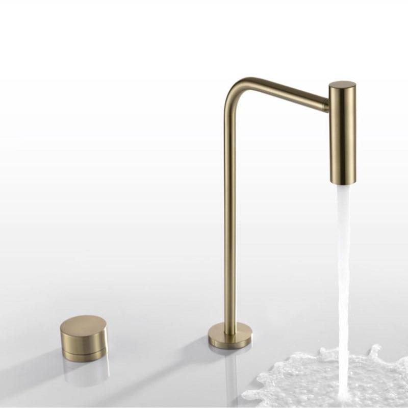 جديد حوض صنبور الحمام على نطاق واسع الساخنة والباردة cretive النحاس المياه خلاط صنبور فرشاة الذهب الأسود حوض المياه بالوعة خلاط رافعة