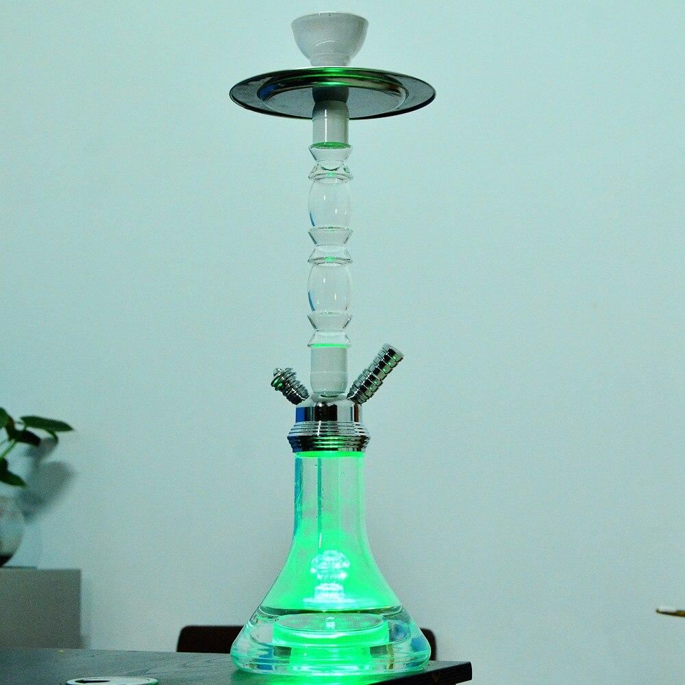 Transparent Acrylic Shisha Hookah Pipe Nargile Chicha Narguile Completo Sisha with LED Light Bowl Hose Metal Tongs Accessories enlarge