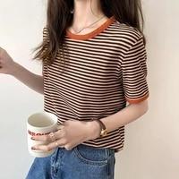 fashionable t shirt versatile short sleeve striped t shirt leading the trend