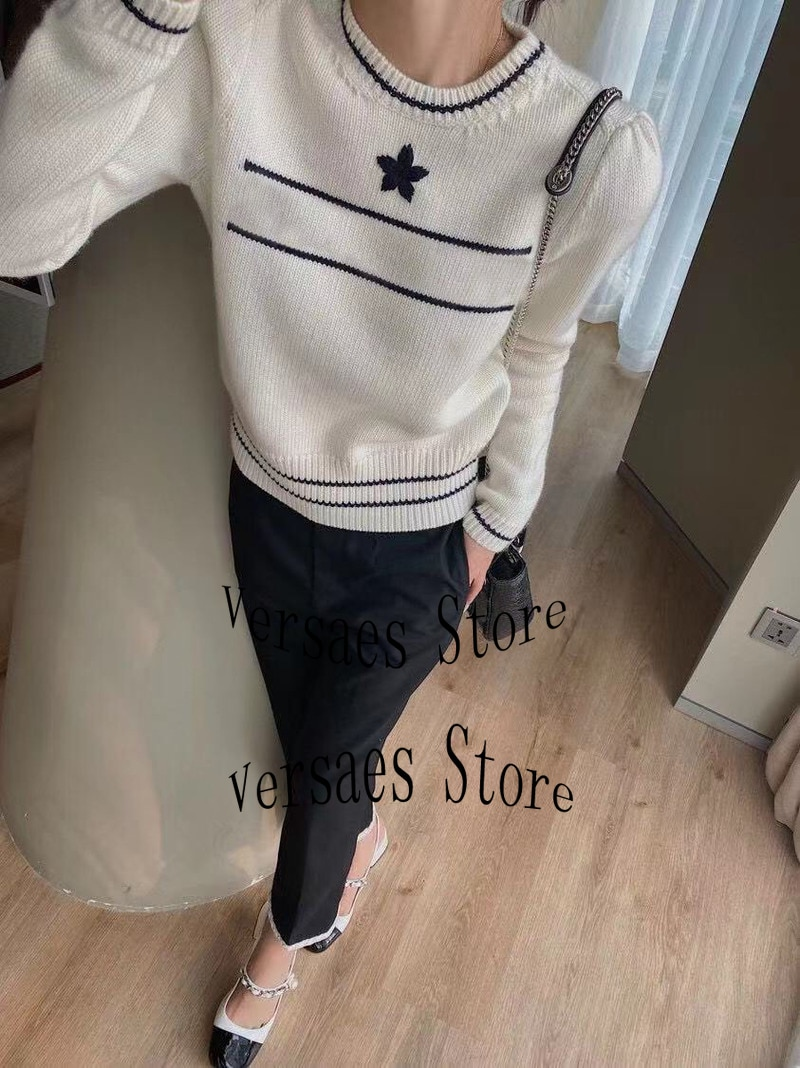 2021 luxury design fashion women's Pullover casual Crew Neck Sweater commuter solid color long sleeve sweater spring and Autumn enlarge
