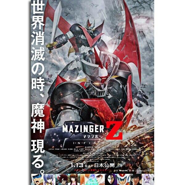 Póster de pared Mazinger Z, clásico Anime japonés, tela de seda película, decoración artística, pegatina brillante