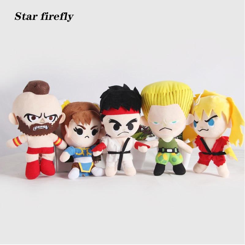 5 Pcs/Set Street Fighters Characters Ryu A Gulie Chun Li 20CM Plush Dolls Retail Creative Stuffed plush toy