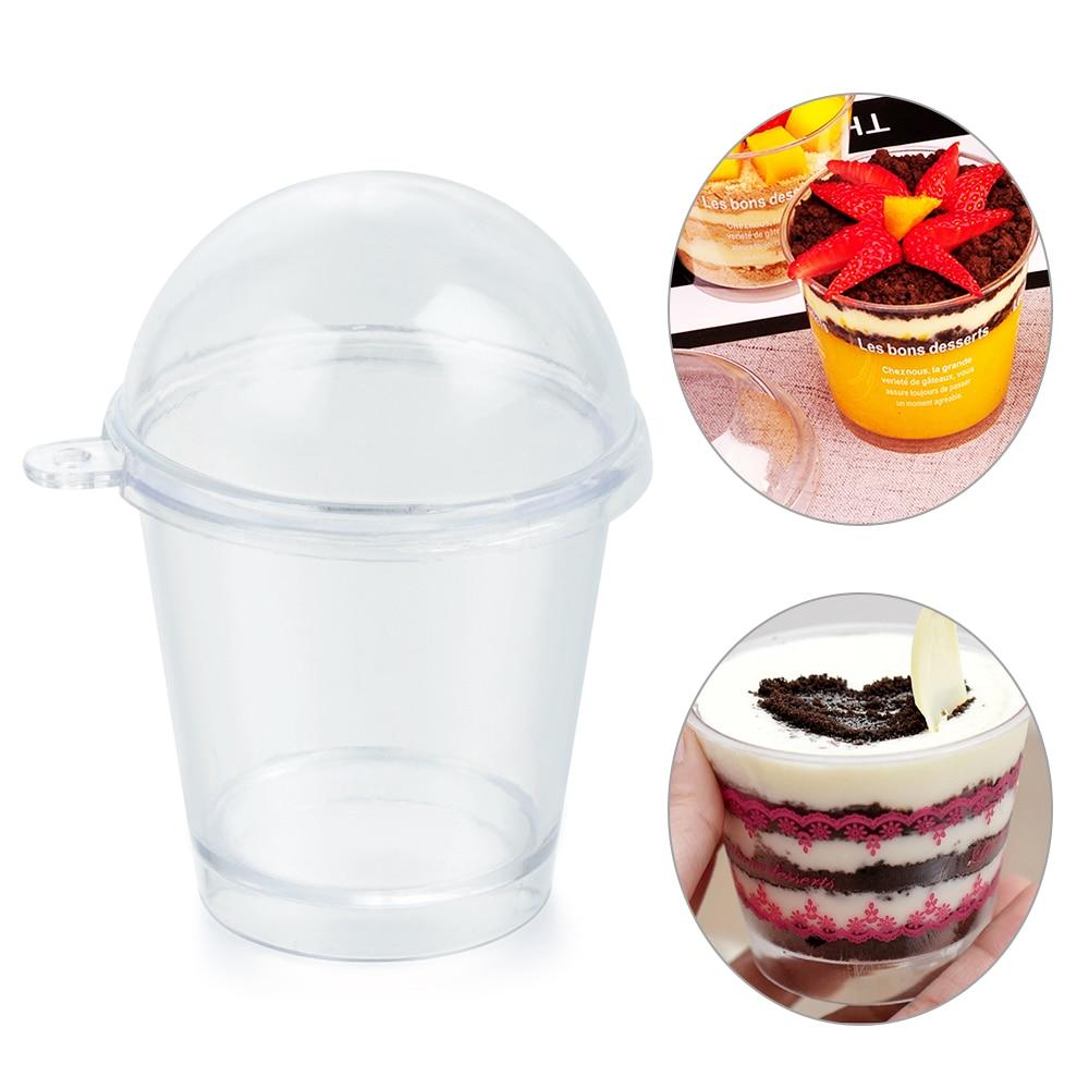 Set de 10 unidades de tazas para palomitas de maíz, tazas para helado, decoración de tartas DIY, Frappuccino en miniatura, taza con tapa, utensilios de repostería para casa y cocina