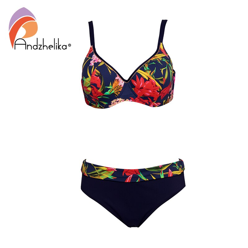 Andzhelika Floral Print Plus Size Bikini Sets Sexy Push Up Swimsuit Two Pieces Swimwear Women 2020 Beach Bathing Suits