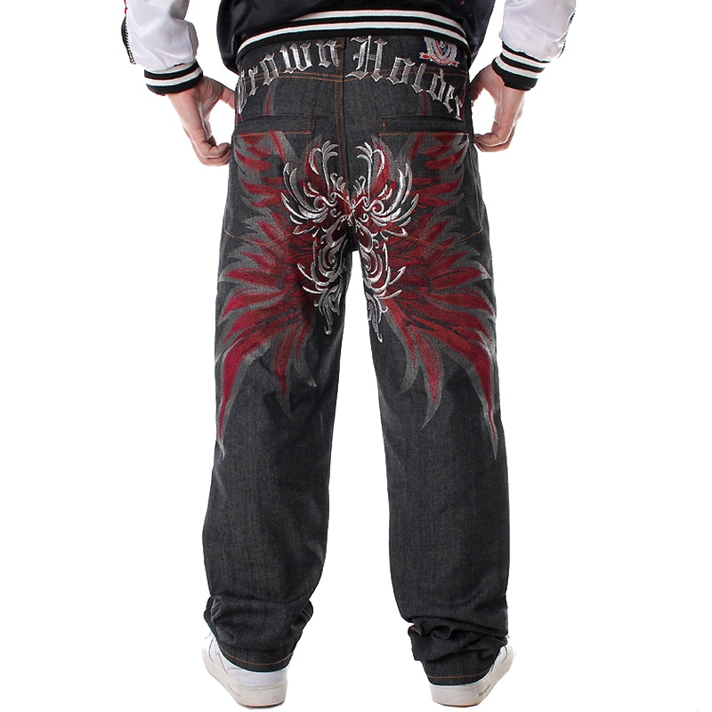 Mens Jeans Top Rushed Stripe Loose  Jeans Men Printed Hiphop  Pants Tide Trousers Embroidered Flower Wings