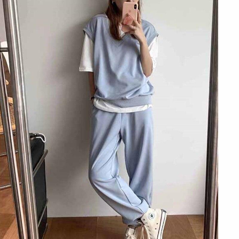 Księżniczka wczesna jesień kamizelka moda zestaw odzieży sportowej kobiet 2021 jesień kamizelka spodnie dwuczęściowy zestaw