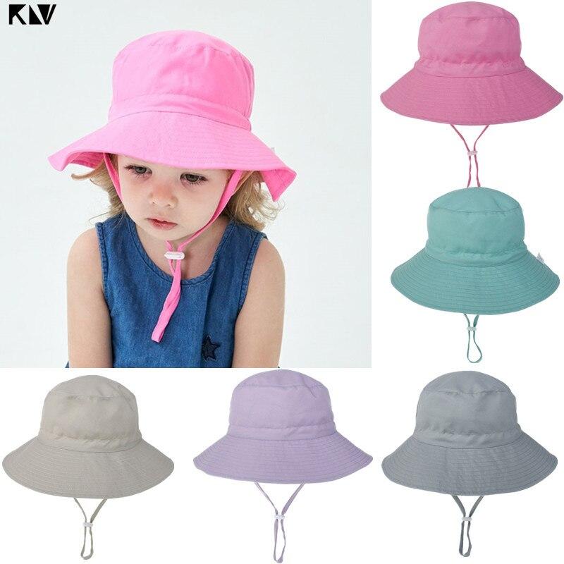 KLV ajustable sol bebé sombrero niño verano sol protección de pantalla tapa playa Cubo de ala ancha sombreros para bebés