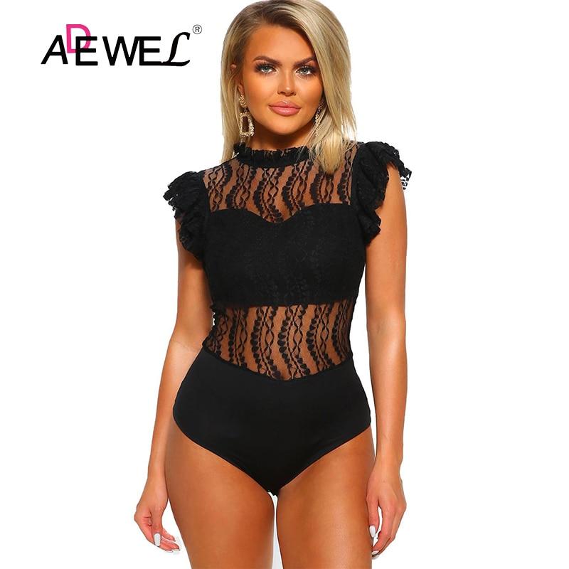 ADEWEL Sexy For Words Black High Neck Lace Bodysuit Women Sleeveless Hollow Out Jumpsuit Enterizos Para Mujer Largos Elegantes L