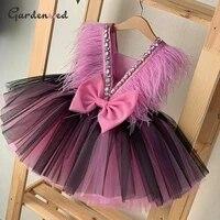 gardenwed puffy flower girl dresses feathers diamond satin bow ball gown girl dress pink girl birthday dress 2020