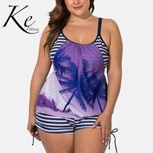 KE nouvelle Collection 2020 bikini femme dame sport fendu 2 pièces pantalon haut bleu palmier violet grande taille extra plus 5XL