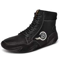 new mens boots fashion leather mens autumnwinter boots plush warm man snow boots outdoor light casual shoes sneakers 38 46