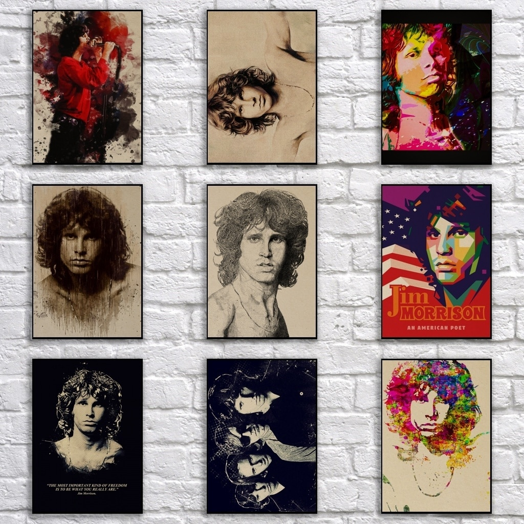 Cartaz da estrela da rocha do vintage de jim morrison retro pop arte abstrata pintura engraçado fantasia adesivo de parede para café casa bar