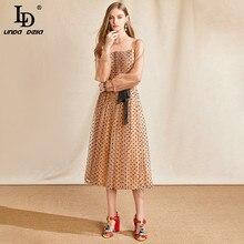 LD LINDA DELLA Summer Fashion Designer Vintage Dress Women Long Sleeve Polka Dot Print Bow Belted Mesh Midi Dress Vestoidos