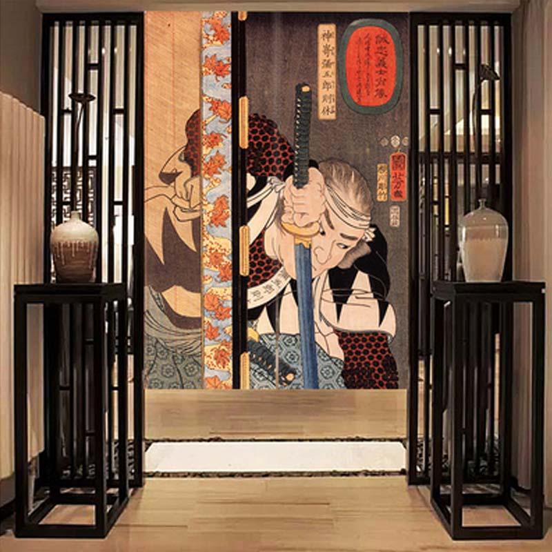 النمط الياباني الساموراي المحارب باب مقسم إلى أجزاء الشاشة مطعم النسيج قضيب تليسكوبي الستار المطبخ نافذة ديكور حوائط المنزل