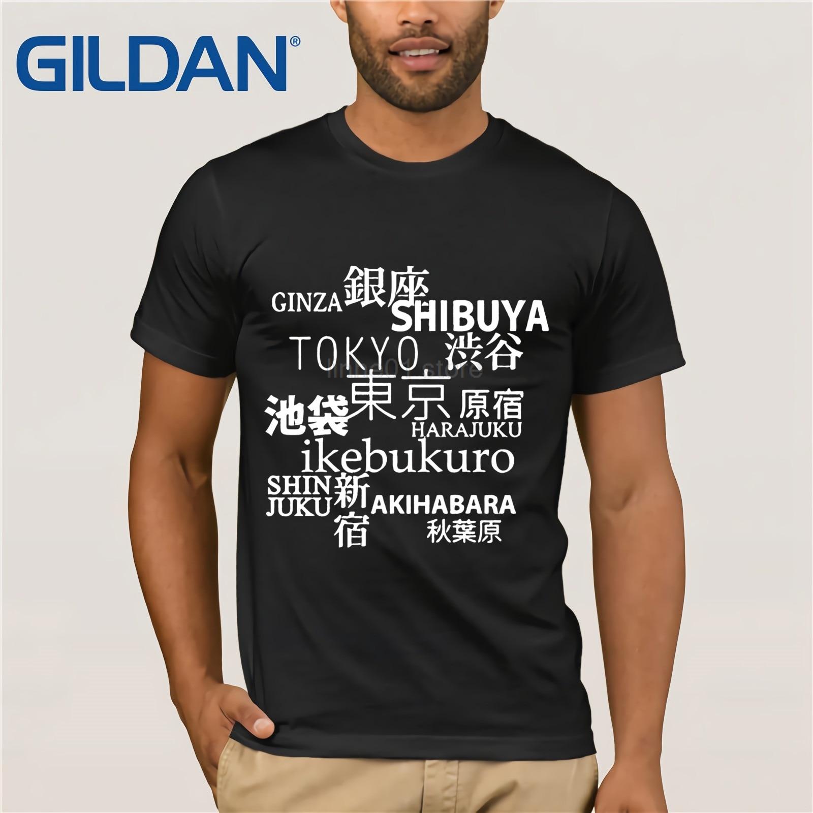 Camisa japonesa de Tokyo para hombre-Shibuya Ikebukuro Harajuku-Camiseta de la ciudad de la tomografía turística-Kanji regalo para estudiante japonés