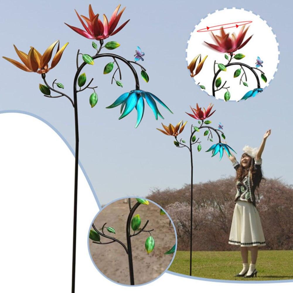 المعادن الرياح الدوار مع ثلاثة تدور الزهور والفراشات طاحونة الدورية حديقة الحديقة زينة الحفلات الحلي 1 قطعة