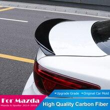For Mazda 6 Atenza 2014 2015 2016 2017 2018 Tail Roof Spoiler Carbon Fiber Trunk Rear Wing Lip Black Spoiler Decoration