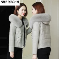 shzq leather down jacket womens 2021 new sheep leather jacket womens short loose korean version plush thickened fur