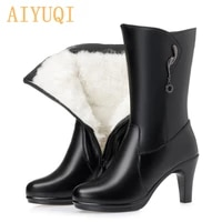 aiyuqi women boots genuine leather 2021 new high heeled fashion office high boots wool winter boots for women