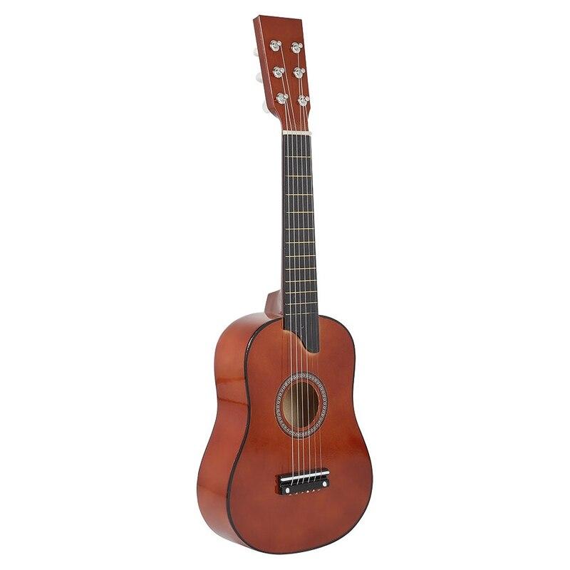 Guitarra de 25 pulgadas, Mini Guitarra de tilo, 6 cuerdas, guitarra acústica con púas, cuerdas para niños principiantes, regalo para niños
