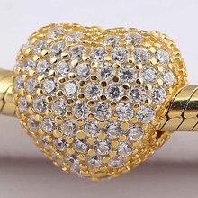 Original Gold Farbe Glanz Pflastern Offenen Mein Herz Clip Stopper Perlen Fit 925 Sterling Silber Perle Charme Pandora Armband Diy schmuck