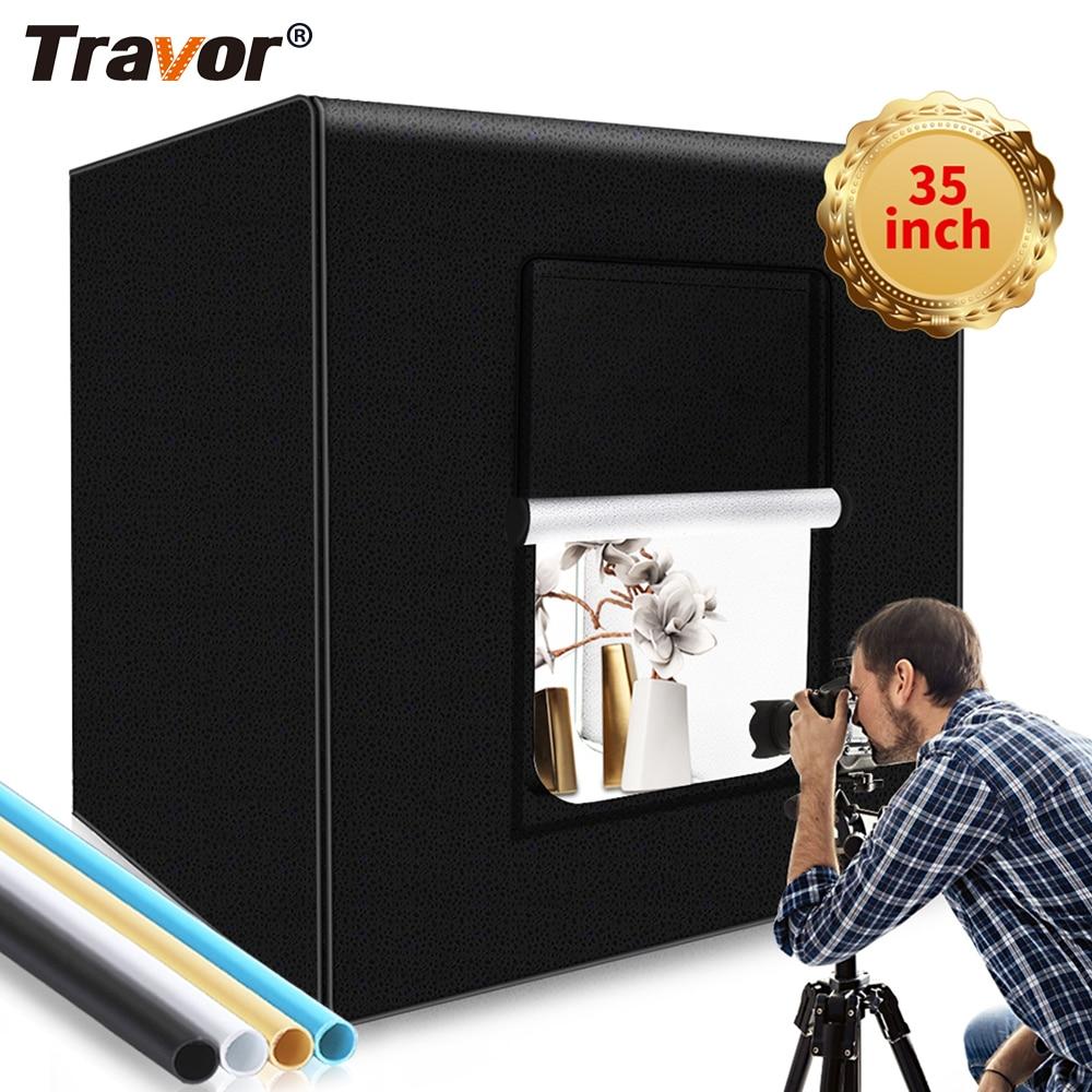 TRAVOR صندوق إضاءة علبة الصور المحمولة 100 سنتيمتر مع 4 خلفية عكس الضوء 5500K للاستوديو التصوير سوفت بوكس خيمة سطح المكتب صندوق الضوء