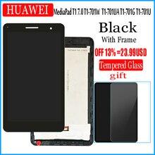 Con marco de pantalla LCD y con pantalla táctil para HUAWEI MediaPad T1 7,0 701 T1-701 701U T1-701U 701UA T1-701UA digitalizador