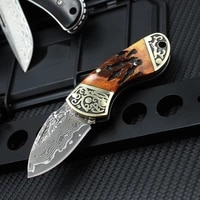 carved brass portable foldable knife camping survival fruit cutter camping hunting tactical knife sharp blade outdoor edc tools