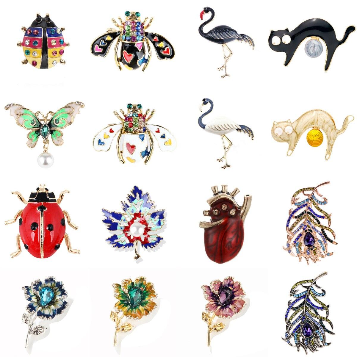 Perno de broche de Metal con diseño de Hojas de arce de colores con forma de mariposa y abeja, broches decorativos de perlas de imitación, joyería de fiesta para mujer