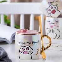 cartoon lucky cat mug with lid spoon cute cat paw ceramics mug coffee milk tea mugs breakfast cup 350ml drinkware novelty gifts