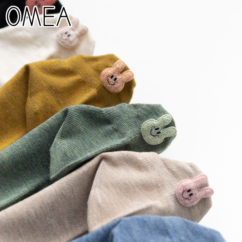 Calcetines tobilleros de Color liso OMEA para mujer, 6 pares de calcetines de algodón peinado de alta calidad Calcetines de corte bajo de dibujos animados de conejo Kawaii, calcetines simples y bonitos