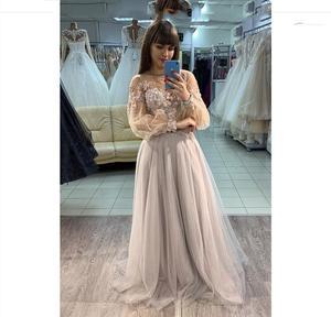 2020 a-line prom dress lace appliques long sleeve tulle charming formal gowns vestido de graduacion cortos gorgeous women party