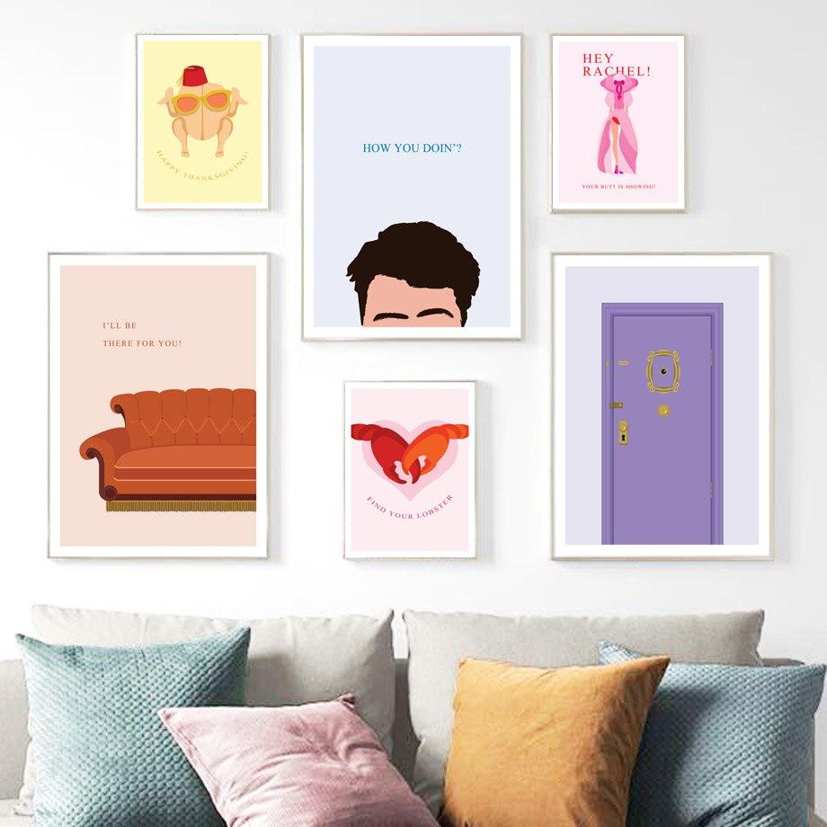 Amigos de la puerta del Show de TV, carteles nórdicos de gatos olorosos e impresiones, cuadro sobre lienzo para pared, cuadros de pared clásicos, decoración para sala de estar