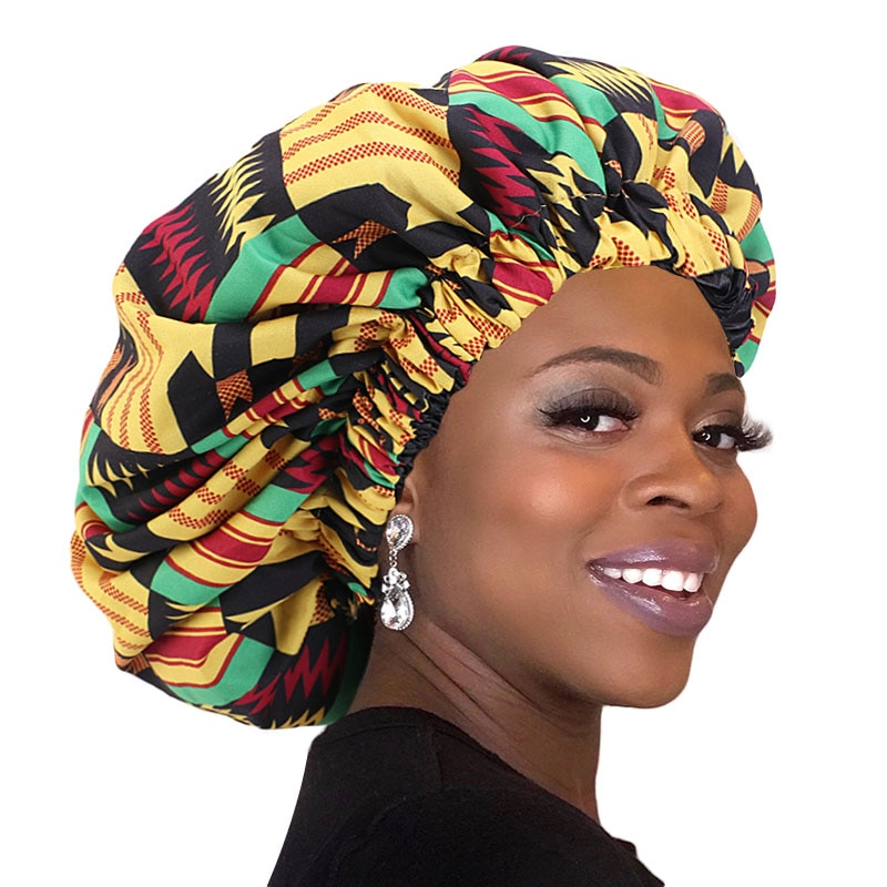 Extra Large African Pattern Ankara Print Silky Bonnet for Women Satin Lined Night Sleep Cap Ladies H