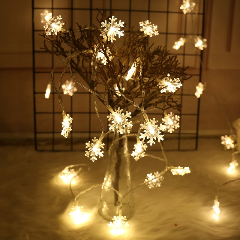 6M 40LED Snowflake String Light Christmas Garland Fairy LED Ball Light Lanterns Xmas Outdoor Party Decor Battery Power