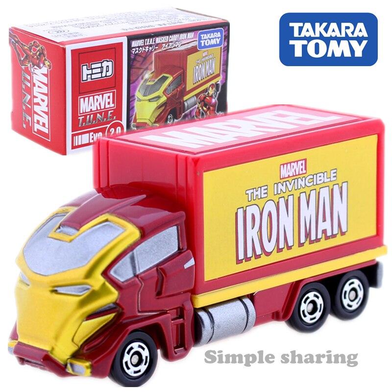 Takara Tomy Tomica Marvel air masqué porter modèle kit Disney moteurs fer homme figure camion jouet moulé sous pression miniature enfants babiole