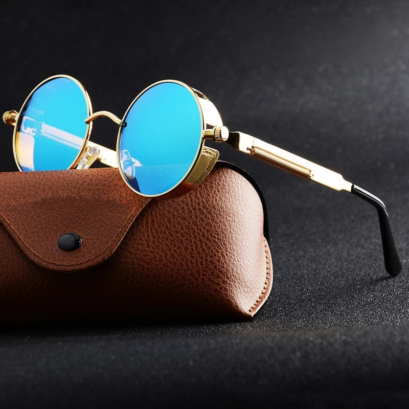 Круглые солнечные очки винтажные металлические