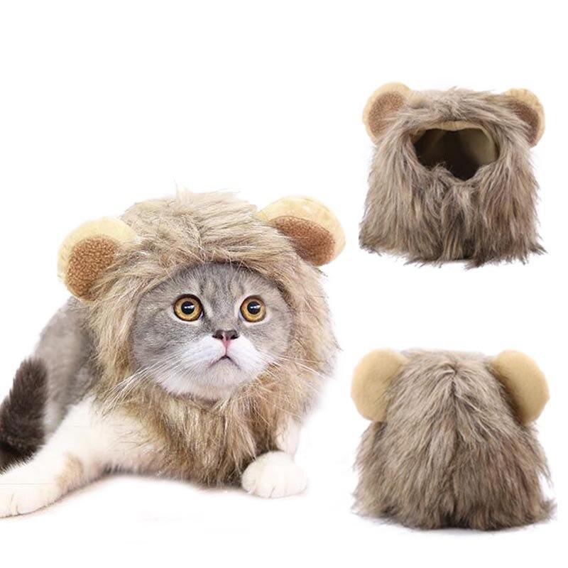 Лев, шляпа для питомца, кошки, собаки, модные аксессуары для волос, теплый волшебный парик, шапка, прочный плюшевый короткий Кот, Удобные товары для домашних животных