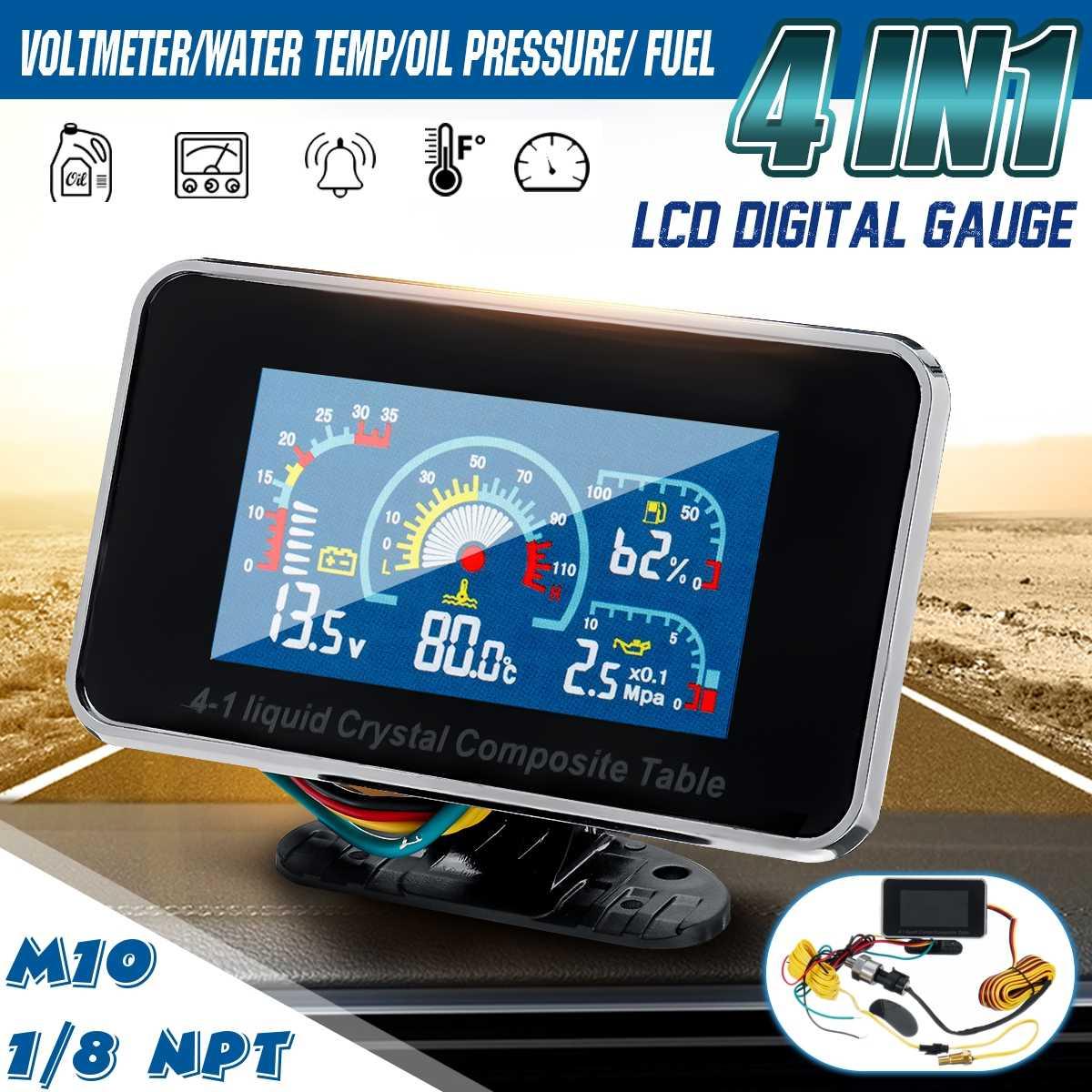 4 em 1 lcd carro digital alarme medidor de pressão voltímetro volt temperatura da água pressão óleo combustível sensor temperatura 12 v/24 v