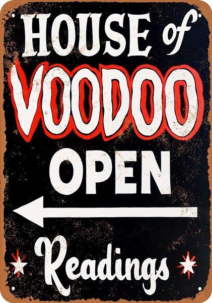 Жестяной знак «Дом Вуду», настенное украшение, винтажный Алюминиевый металлический знак в стиле ретро, железная живопись, винтажный декора...