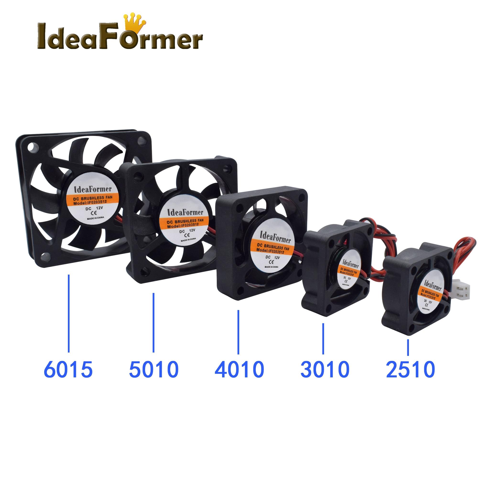 3D Printer Parts 2510/3010/4010/5010/6015mm 3D Printer Extruder Cooler Fan DC 5/12/24V With 2Pin Dupont Wire Black Plastic
