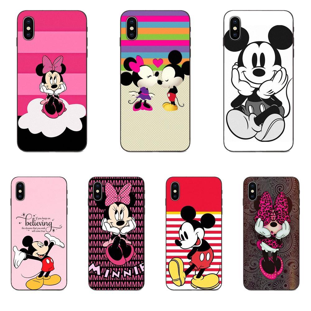 TPU diseño Kawaii Mickey besando a Minnie Mouse para Galaxy A10S A20S A2 Core A30S A40S A50S A70S A90 5G M10 M30S M40 Nota 10 Plus