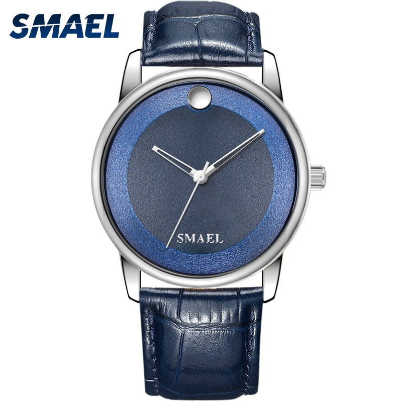 SMAEL Women Luxury Quartz Wirst Watches Ladies Fashion Metal Dial Casual Bracelet Watch Blue Leather Wristwatch Zegarek Damski enlarge