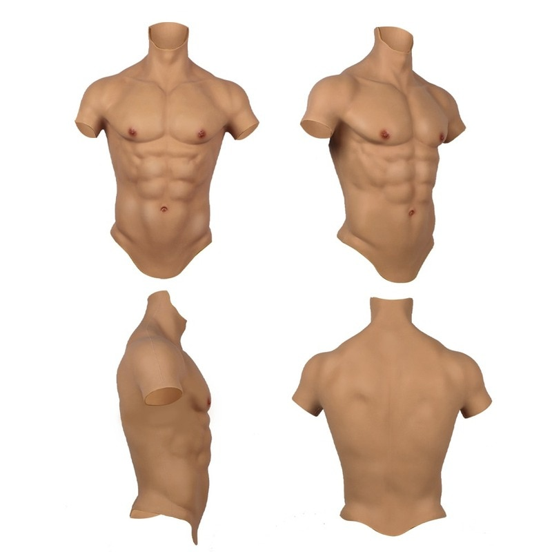 Realistic Muscular Cosplay Costume Handmade Male Lying on His Chest with Fake Abdominal Muscles Covering His Abdomen