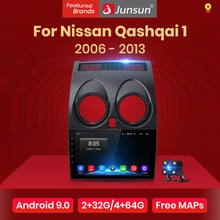 Junsun V1 Android 9.0 2GB+32GB DSP CarPlay Car Radio Multimidia Video Player GPS For Nissan Qashqai 1 J10 2006-2013 2 din dvd