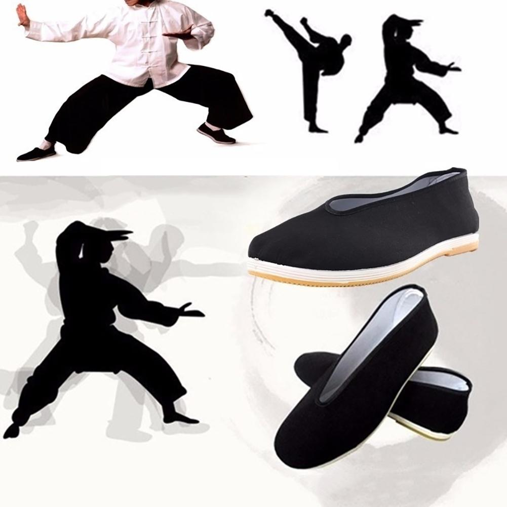 Quality Black Cotton Shoes Men's Traditional Chinese Kung Fu Cotton Cloth Wing Chun Tai-chi Martial