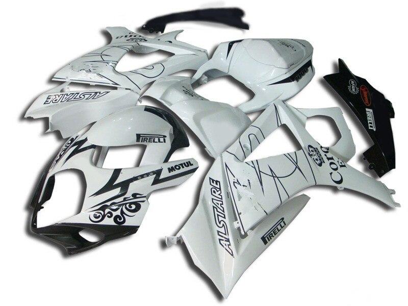 Совершенно новый комплект обтекателя мотоцикла для GSXR1000 07 08 GSX-R GSXR 1000 K7 2007 2008 Corona Белый Черный обтекатели боди SK61